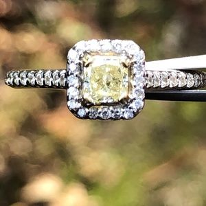 Jewelry - COPY - NATURAL FANCY YELLOW DIAMOND IN HALO MOUNT